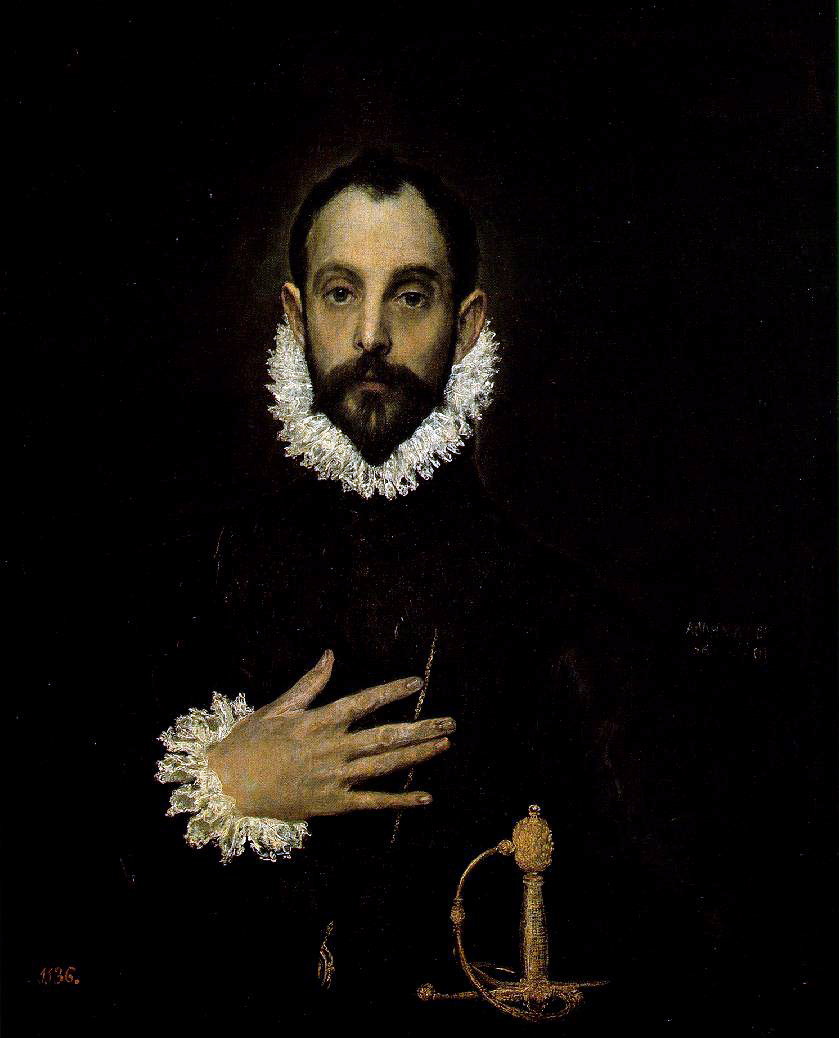 el Greco's Knight With His Hand On His Breast