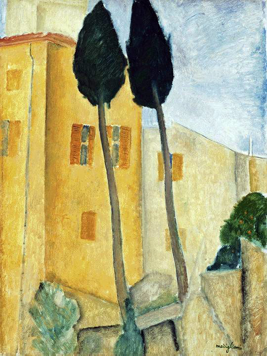 Modigliani's Cypress Trees & Houses